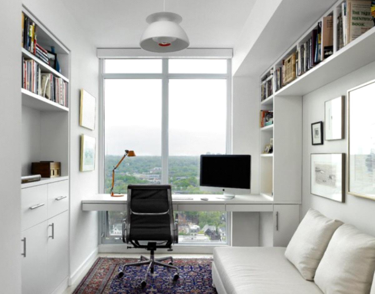 Фото 6 - Домашний рабочий кабинет белого цвета со столом, креслом, шкафом, книжными полками и диваном для отдыха