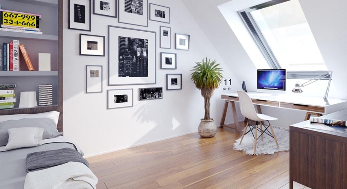 Фото 12 - Домашний кабинет в скандинавском стиле на мансардном этаже с зоной отдыха