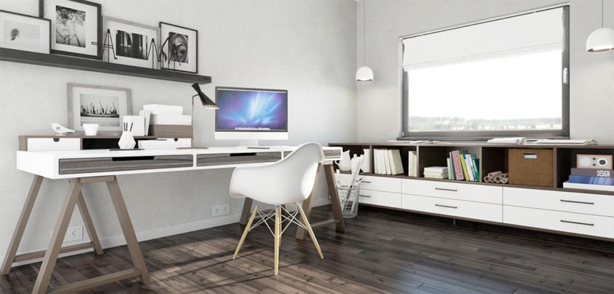 Фото 13 - Домашний кабинет в скандинавском стиле в сочетании белого и серого цветов