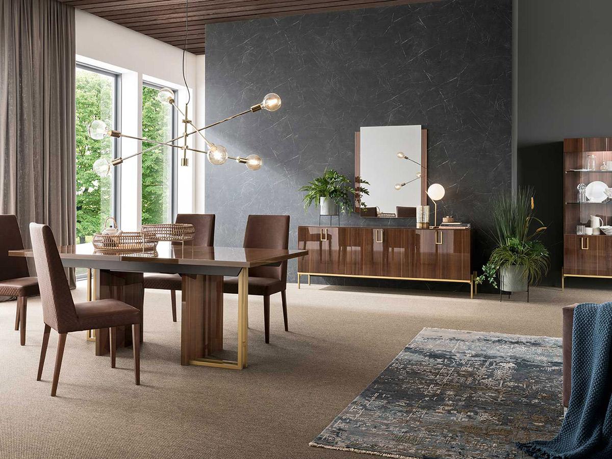 Фото 2 - Современная коллекция итальянской мебели для гостиной Mid Century фабрики Alf: стол с обеденными стульями, буфет, зеркало и витрина