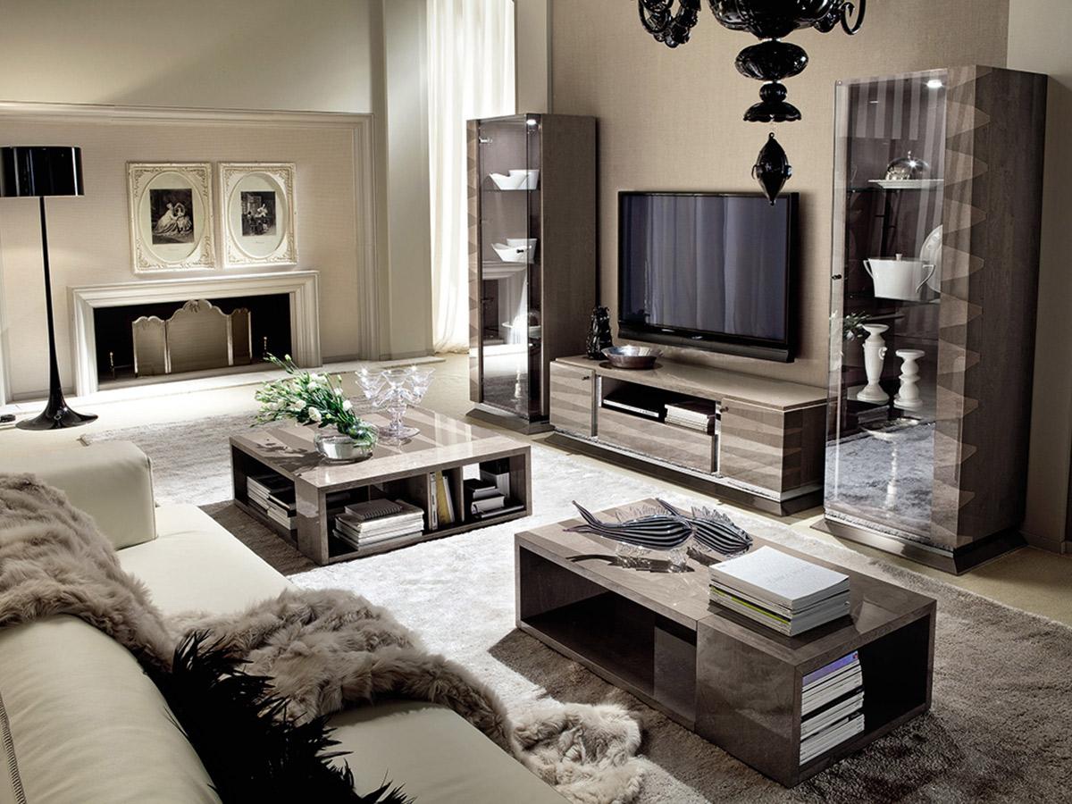Фото 5 - Итальянская гостиная Monaco фабрики Alf в современном стиле: диван, журнальные столики, тумба под ТВ, две витрины
